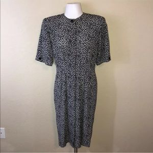 Vintage 80s Black & White Wiggle Pencil Dress 6